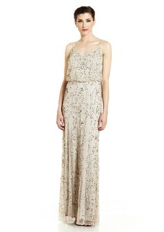 80% off! Only $70...so pretty!! ADRIANNA PAPELL Natural Spaghetti Strap Gown with Beaded Pattern