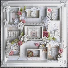 Vintage-Style Shabby Chic Shadow Box by Juliana Montoya / ILuvVintageScrap Shabby Chic Stoff, Shabby Chic Tapete, Shabby Chic Fabric, Shabby Chic Curtains, Shabby Chic Crafts, Shabby Chic Living Room, Shabby Chic Interiors, Shabby Chic Kitchen, Shabby Chic Homes