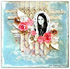 Crafting ideas from Sizzix UK: 'Alex' using Frameworks die and Tattered florals and leaves
