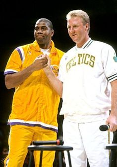 Picture of Boston Celtics Larry Bird and Los Angeles Lakers Magic Johnson at Larry's retirement ceremony at Boston Garden Basketball Pictures, Love And Basketball, Sports Basketball, College Basketball, Basketball Players, Lakers Vs Celtics, Boston Celtics, Larry Bird, Boston Sports