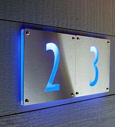 Luxello Modern LED House Number 5 Outdoor 5 brushed aluminium