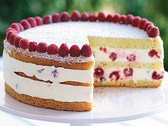 Raspberry Lemon Cream Cake—Tender sponge cake holds layers of fresh raspberries in a creamy lemon filling for this make-ahead dessert. Lemon Desserts, Lemon Recipes, Sweet Recipes, Baking Recipes, Cake Recipes, Dessert Recipes, British Baking Show Recipes, Baking Desserts, Easter Recipes