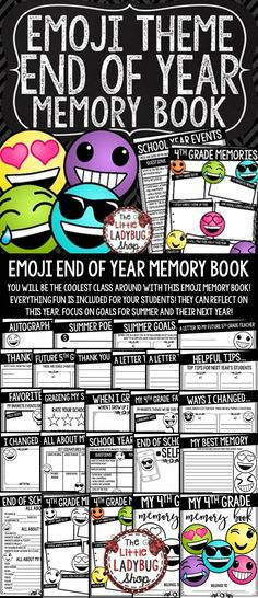 You will LOVE this Emoji End of The Year Memory Book for your 4th Grade students! You will truly be the Coolest Classroom with this fun activity book! It is perfect for your students to reflect on their school year! This Memory Book includes meaningful activities to use the last few days of school. Your students will LOVE completing this End of the Year Activities!
