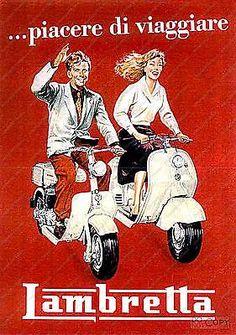 Lambretta-Vintage-motorcycle-poster-reproduccion