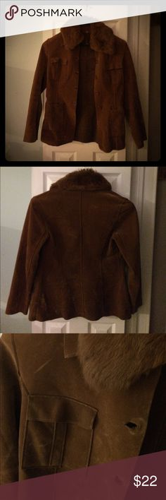 Faux Sued Jacket Brown faux sued with faux fur collar. Double breast and waist pockets. Super soft with a little stretch. 35% cotton, 65% polyester. Size L. Fitted around the shoulders and breast with a slight flare at the waist and cuffs. Excellent Condition. Like new. Jackets & Coats