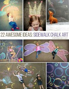 22 Totally Awesome Sidewalk Chalk Ideas - Schulfotos - HoMe Craft Activities, Toddler Activities, Toddler Crafts, Crafts For Kids, Chalk Photography, Chalk Photos, Kind Photo, Foto Fun, Sidewalk Chalk Art