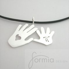 Mommy and me handprints as jewelry by miavanbeek on Etsy. , via Etsy.