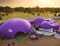 #Cadburys inflatable domes connected with tunnels, covered in bespoke covers.  #EvolutionDome #BespokeBranding #TemporaryVenue #TemporaryStructure #PopUpVenue #PopUpStore #Branding #BrandAwareness #InflatableStructure