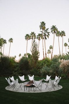 butterfly chairs + a firepit