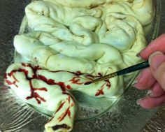 Edible Intestines Halloween Recipe use this idea, without the sweets... maybe an enchilada type filling