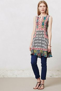 Reva Elephant Tunic #anthropologie   tiny yarns in different colors...Maybe all that tencel laceweight I've collected could find a home in something like this...