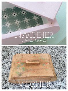 Vorher-Nachher mit Kreidefarbe, Kreidefarbe selbst herstellen, alte Kisten vom Flohmarkt