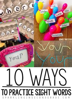 Sight Word Activities-Sparkling in Second Needing to spice up your sight word routine? Try these activities for teaching sight words! 10 sight word games for kindergarten and first grade! My favorite is the bowling! Teaching Sight Words, Sight Word Practice, First Grade Sight Words, Sight Words For Kindergarten, Spelling Practice, First Words, Kindergarten Games, Literacy Activities, Reading Activities