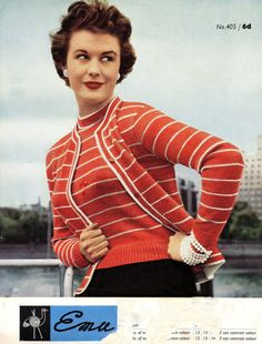 Lovely vintage knitting pattern from the 1950s..cardigan & jumper