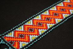 Geometric Huichol Bracelet Tribal by BiuluArtisanBoutique on Etsy Beaded Cuff Bracelet, Seed Bead Bracelets, Beaded Earrings, Native American Jewellery, Native American Beading, Weaving Projects, Loom Beading, Resin Crafts, Bracelet Designs
