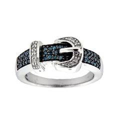 @Overstock - Blue and white diamond buckle ringSterling silver jewelryClick here for ring sizing guidehttp://www.overstock.com/Jewelry-Watches/Silver-1-4ct-TDW-Blue-and-White-Diamond-Buckle-Ring-H-I-I2-I3-Size-7/5269502/product.html?CID=214117 THB              3031.00