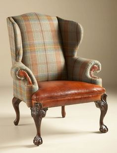 Wing Back Chair, Wool Plaid