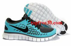 topfree30.com for nikes 50% OFF - Mens Nike Free Run Light Blue Black Shoes