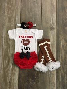 Atlanta Falcons baby girl outfit - Atlanta Falcons baby - Falcons baby onesie - falcons football - football leg warmers - baby gift by Mylittlerascal on Etsy https://www.etsy.com/listing/477922125/atlanta-falcons-baby-girl-outfit-atlanta