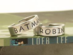 Batman and Robin Ring Set  Best Friends  by fromtheinternet