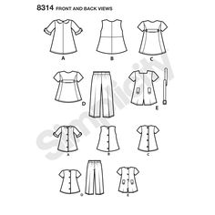 "Add a retro look to your doll clothes collection with these 1960s-inspired dresses and sportswear for 18"" dolls. Pattern includes A-line dress and 2-piece pant set and shorts jumpsuit. Simplicity sewing pattern."