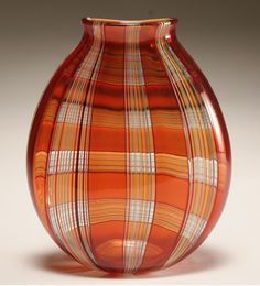 Robin Mix studio glass vase, 2001...I don't know why, but a plaid vase just makes me smile.