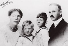 """""""Grand Duchess Olga Alexandrovna with her second husband Nicholas Kulikovsky and their two sons Tikhon and Guri"""""""