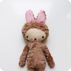 Plush Kawaii Bunny Rabbit Stuffed Toy in Brown Minky Large $46