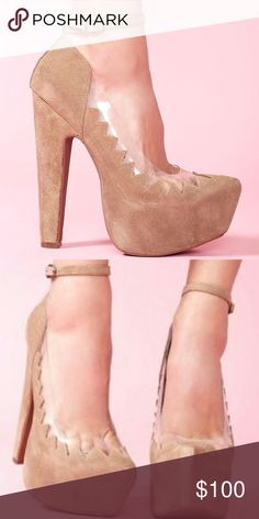 "Jeffrey Campbell Hilary Platform Heels Jeffrey Campbell ""Hilary"" Platform Heels in Tasue Beige Suede with a zig zag trim and clear peek a boo detailing sits atop a pointed toe platform heel with a slim ankle strap. NWOT. Box not included. Jeffrey Campbell Shoes Platforms"