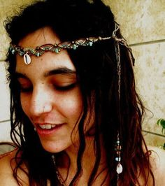 Native Tribe tiara HEADBAND turquoise bead stones, brass beads hippie headband bohemian Gypsy Feather head piece