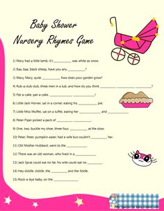 Baby Shower Bag Games | rhyme game for baby shower in pink color if you are having a girl baby ...