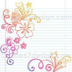Summer Hibiscus Sketchy Notebook Doodles Illustration by blue67design by blue67design, via Flickr