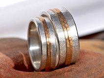Eheringe rotgold silber  Partner- & Eheringe - 1 Paar Trauringe, Rollringe Silber mit ...