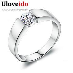 50% de descuento anillos de bodas de plata para mujeres / hombres plata de ley 925 diamante simulado anillo Anel joyería 2015 Ulove J002