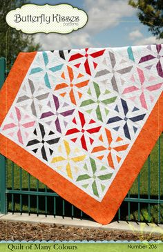 "Butterly Kisses Patterns - Quilts of Many Colours Pattern. Finishes 77.5"" x 92.5""."