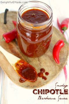 Smokey Chipotle Barbecue Sauce ~ The perfect recipe for smokey, spicy & sweet barbecue sauce! Fantastic for burgers, chicken, pork chops and ribs, this simple BBQ sauce will be your new go-to recipe for grilling season! Sweet Barbecue Sauce Recipe, Barbeque Sauce, Bbq Sauces, Bbq Pork Loin, Pork Chops, Bbq Sauce Ingredients, Cooking On The Grill, Sweet And Spicy, Perfect Food