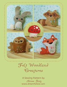 Miniature plush woodland animals are sure to delight anyone who loves nature and cuteness! Here is a pattern you can use to sew your very own. This pattern will give you instructions and patterns to make the creatures pictured, Owl, Raccoon, Fox, Bunny and Mushroom. Each one is around 2-3