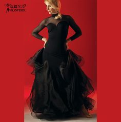 Flamenco Ballroom Dance Dress Long Prom Dress #S8018