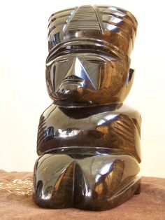 """Hand Carved Gold Sheen Obisidian Aztec Statue -- 9 and 1/2"""" high by RobertsXclusiveGifts on Etsy"""