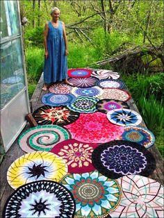 Old Moss Woman's Secret Garden photos https://www.facebook.com/oldmosswoman?fref=ts Artistic crocheted mandala rugs.