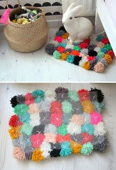 DIY pom pom rug - I would like to do one of these in monochromatic colors for the bathroom.