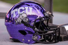 TCU's purple chrome helmets