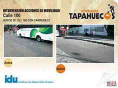 Intervención Acciones de Movilidad Calle 100 con Carrera 22. #TapaHuecos.
