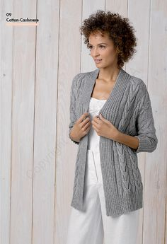 fee772530 Katia Cabled Women s Cardigan Free Knitting Pattern. Skill Level   Intermediate Unique cabled stitch with a ribbed edge and collar.