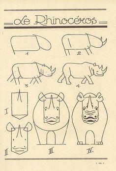#Animales #Naturaleza #Dibujos #Ilustraciones #Artistas #Afiches #Rinocerontes
