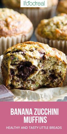 These healthy Banana Zucchini Muffins are my kids favorite in our house. Made of wholesome, delicious ingredients, these always turn out so fluffy and moist. The best muffins EVER! Zuchini Banana Muffins, Chocolate Zucchini Muffins, Healthy Banana Muffins, Healthy Muffin Recipes, Banana Recipes, Healthy Baking, Baby Food Recipes, Family Recipes, Banana Zucchini Bread Healthy