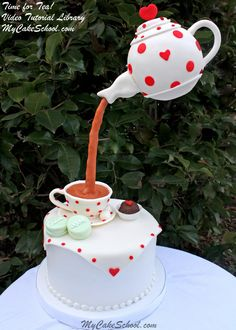 Time for Tea! Cake with suspended teapot decoration Tutorial by MyCakeSchool.com! Online Cake Decorating Videos, Tutorials, & Recipes.