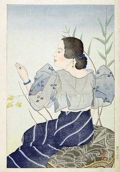 Portrait of a Chamorro Woman - Indigo - Paul Jacoulet Illustrations, Graphic Illustration, Vintage Japanese, Japanese Art, Hiroshi Yoshida, Post Impressionism, Art Database, Woodblock Print, Print Artist