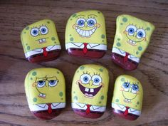 Spongebob Squarepants funny cartoon painted rocks.