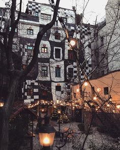 Kunsthaus by Friedensreich Hundertwasser with Christmas lights Christmas Lights, Christmas Time, Friedensreich Hundertwasser, Museum, Earth, Photo And Video, House Styles, Building, Illustration